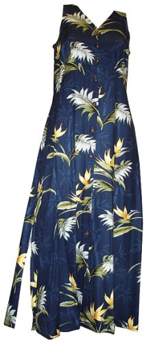 Paradise Found Womens Bamboo Paradise Empire Long Tank Dress in Navy Blue - XXL
