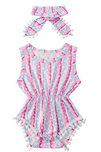 - Toddler Girl Funny Snap Buttons Bodysuits Tropical Hawaii Print Rose Yellow Coral Blue Striped Ribbed Jumpsuits for Newborns Girls Little Butterfly with Headband for Formal Gift Costume 12-18 Months