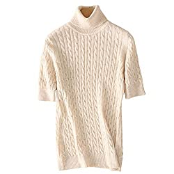 Dissa F5211 Women Loose Solid Sweater Turtle Neck Short Sleeve 100 Cashmere Sweater Pullover Beige Xxl Us 10