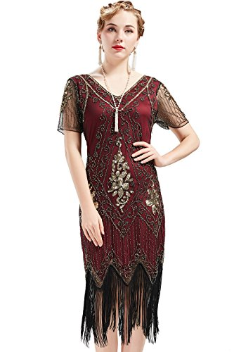 BABEYOND 1920s Art Deco Fringed Sequin Dress Roaring 20s Flapper Fancy Dress Gatsby Costume Dress Vintage Beaded Evening Dress (Red and Gold, X-Large)