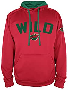 NHL Minnesota Wild Mens National Hockey League Hooded Pullover, Athletic Red, Medium
