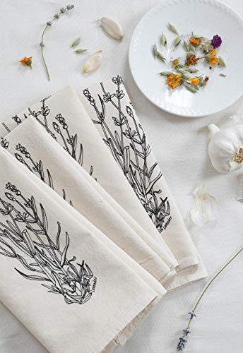 Set of 4 Cloth Napkins - Organic Cotton - Lavender Print in Black