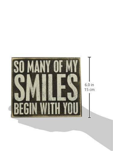 Primitives by Kathy 20992 Love- Smiles Box Sign, Neutral by Primitives by Kathy (Image #2)'