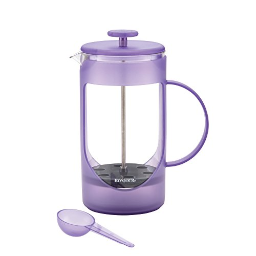 BonJour Coffee Unbreakable Plastic French Press, 33.8 oz, Ami-Matin, French Lavender