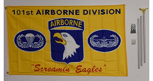 Silver Screamin Eagle - 3x5 101st Airborne Screamin Eagles Yellow flag with 6 ft Brushed Silver Aluminum Residential Commercial Advertising Flagpole Pole Kit Set (Eagle Top)