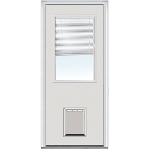 National Door Company EMJF684BLPR28R Steel Primed, Right Hand In-swing, Prehung Door, 1/2 Lite with Pet Door, Clear Glass with RLB, 32'' x 80'' by National Door Company