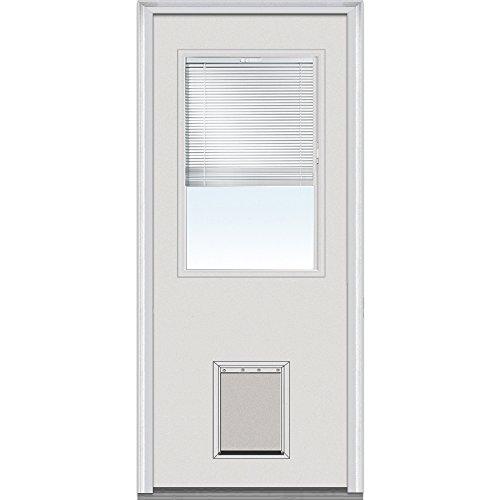 National Door Company EMJF684BLPR28R Steel Primed, Right Hand In-swing, Prehung Door, 1/2 Lite with Pet Door, Clear Glass with RLB, 32'' x 80'' by National Door Company (Image #2)