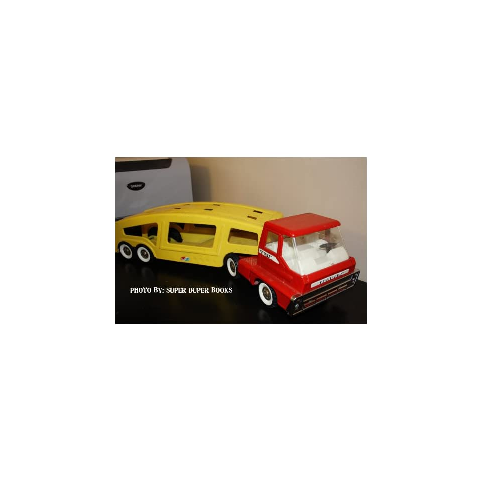 Vintage Metal Structo Red and Yellow Car Carrier Semi Truck Cab and Trailer
