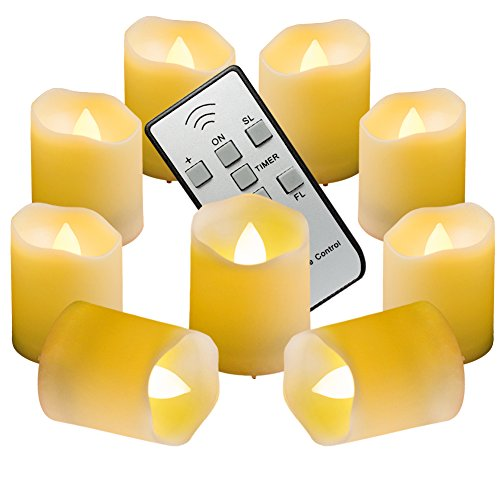 Homemory 9PCS Flameless Flickering Votive Candles, Amber Yellow Light, Battery Operated Realistic LED Tealight with Remote & Timer, Long Battery Life 150+ Hours (Faux Pumpkins White)