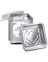 "Fig & Leaf (35 Pack) 8"" x 8"" Square Baking Cake Pans with Plastic Dome Lids 