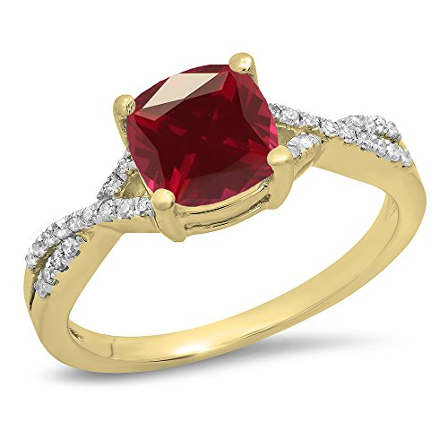 Dazzlingrock Collection 10K 7 MM Cushion Ruby & Round Diamond Ladies Swirl Engagement Ring, Yellow Gold, Size 7 ()