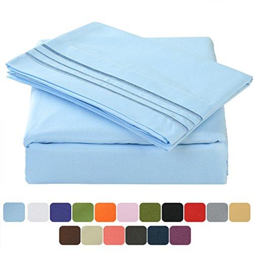 TasteLife 105 GSM Deep Pocket Bed Sheet Set Brushed Hypoallergenic Microfiber 1800 Bedding Sheets Wrinkle, Fade, Stain Resistant - 4 Piece(Lake Blue,King)