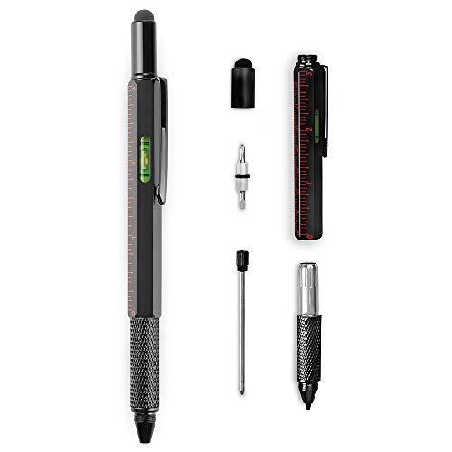 BLKSMITH 6-in-1 Pen Multi-tool – Black Ink Pen, Stylus Tip, Level, Ruler, Dual Screwdrivers – Refillable Ink – Durable Aluminum Construction