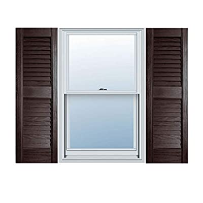 "12"" x 55"" Builders Choice Vinyl Open Louver Window Shutters, w/Shutter Spikes & Screws (Per Pair), Chocolate Brown"