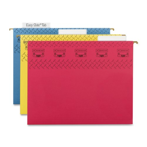 - Smead TUFF Hanging File Folder with Easy Slide Tab, 1/3-Cut Sliding Tab, Letter Size, Assorted Colors, 15 per Box (64040)