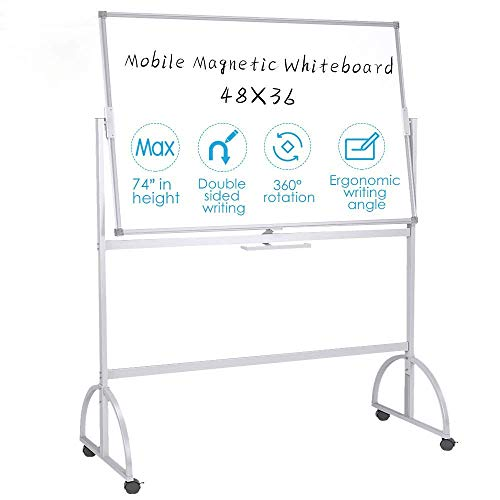 Mobile Dry Erase Board 48 x 36 Standing Magnetic Whiteboard Aluminum Frame Double Sided White Board