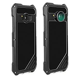 Samsung Galaxy S8 Camera Lens Kit Case, SHEROX - 3 in 1 198° Fisheye Lens + 15X Macro Lens + Wide Angle Lens with IP54 Dustproof Shockproof Aluminum Case