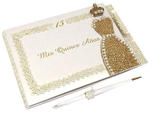 Mis Quince Anos Quinceanera Rhinestones Guest Book with Crown Princess Dress