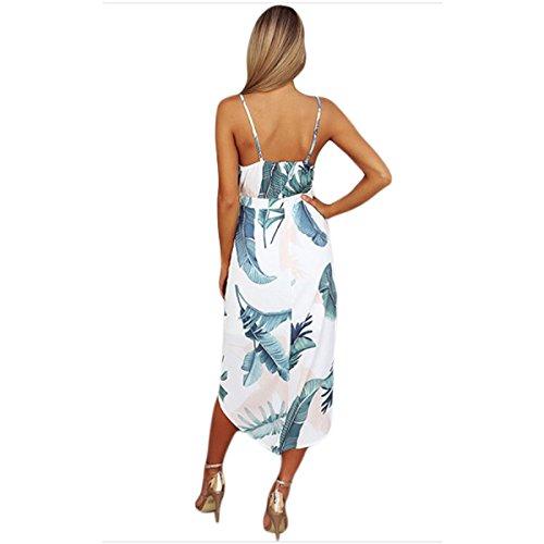 Linaking Hipsters Femmes Fines Bretelles Imprimé Floral Profond Col V Taille Haute Robe De Plage Irrégulière Pour La Robe De Dame Blanche