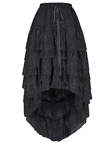 Women Black Gothic Victorian Steampunk Pirate Skirt Burlesque Costume L Black]()