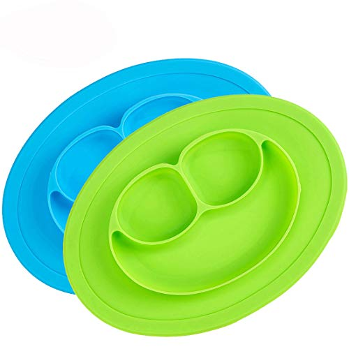 (Silicone Placemat - Silicone Kids Plates Toddler Plates Baby Silicone Suction Placemat PAD Freezer to Microwave to Table, Food Feeding Divided Mat for Kids and Toddlers Fits Most Highchair Trays)