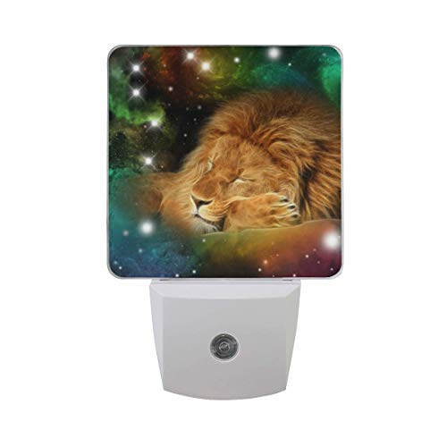 al Lion in Universe DIY Plug in LED Night Light Auto Sensor Smart Dusk to Dawn Decorative Night for Bedroom, Bathroom, Kitchen, Hallway, Stairs,Hallway,Baby's Room, Energy Saving ()