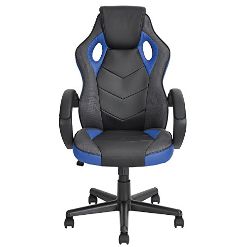 Racing Chair Homycasa Racing Chair High-back Leather Computer Task Seat Ergonomic Executive Swivel Office Chair Design Gaming Style Chair Blue Review