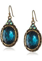 1928 Jewelry Crystal Oval Drop Earrings