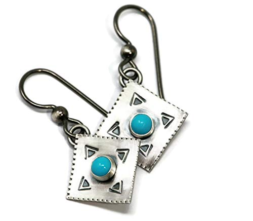 (Sleeping Beauty Turquoise and Sterling Silver Southwest Style Drop Hypoallergenic Earrings in Antique Finish)