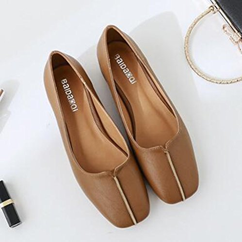 Easemax Womens Trendy Stitching Square Toe Low Top Slip On Low Chunky Heel Pumps Shoes Brown wZa9mfQ3G