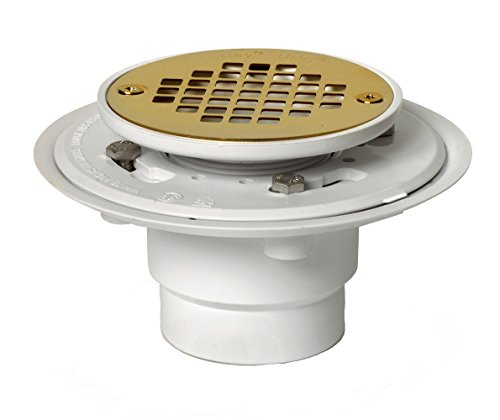 Drain Shower Base Finish - Oatey 42404 PVC Drain with Polished Brass Strainer for Tile Shower Bases, PVD Finish, 2-Inch or 3-Inch