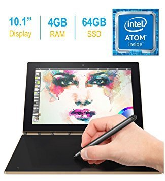 2017 Newest Lenovo Yoga Book 10.1-inch FHD Touch IPS 2-in-1 Tablet PC, Intel Atom x5-Z8550 1.44GHz, 4GB DDR3 RAM, 64GB SSD, Bluetooth, HD Graphics 400, Android 6.0.1 Marshmallow OS- Champagne Gold ()