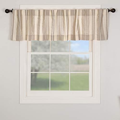 Piper Classics Grayson Valance Curtains, 72 W, Gray, Black Cream Striped Urban Farmhouse Style Kitchen, Bath Window Curtain