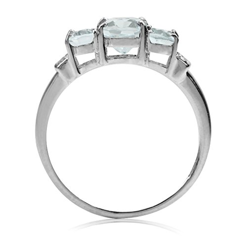 Silvershake 1.76ct. 3 Stones Genuine Blue Aquamarine and White Topaz Gold Plated 925 Sterling Silver Ring