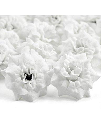 Zacoo Silk Roses Artificial Silk Flower Heads 50pcs. Silk White 50mm
