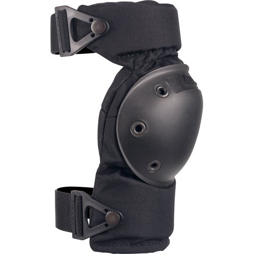 Image of the AltaCONTOUR knee pad in black, with straps fastened securely.