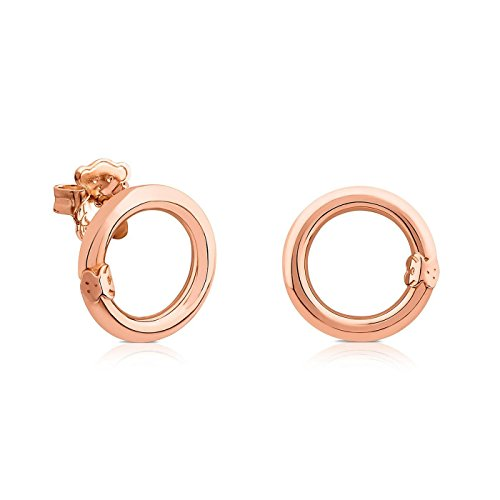 TOUS Small Rose Gold-Plated Sterling Silver Circle Hold Earrings