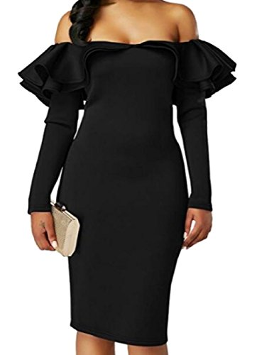 Word Long Party Solid One Slimming Sleeve Black Collar Coolred Women Dress WYHpaqYS