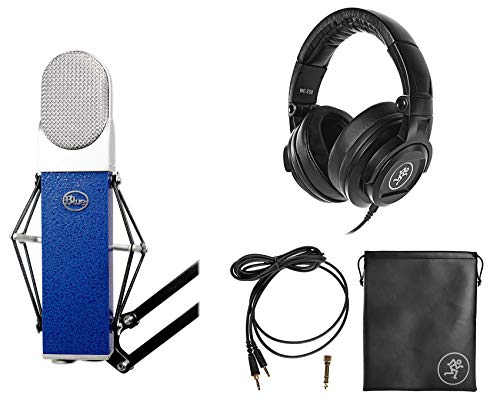 Blue Blueberry Studio Recording Microphone Mic+Shockmount+Case+Mackie Headphones