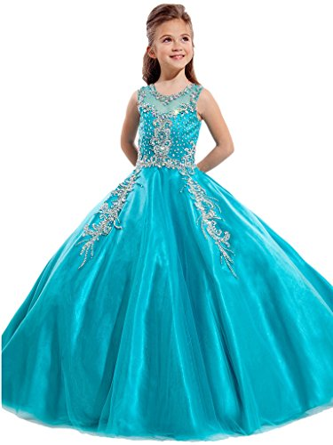 Aisha Girls' Jewel Beading Ball Gown Girls Pageant Dress Christmas 12 US Turquoise by Aisha
