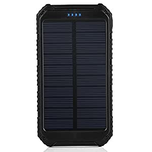 Solar Charger, Portable Power Bank 10000mAh Dual USB Battery Charger External Backup Power Pack for Cellphone Camera GPS Tablets and Other 5V USB Devices-Black