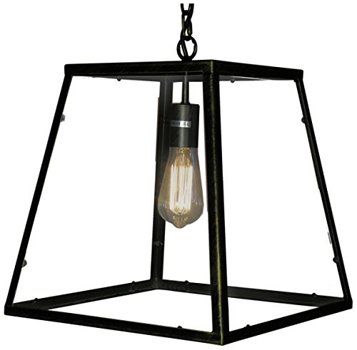 Whse of Tiffany LD4013 Minerva 1-Light Edison Lamp with Bulb, Black - 14 inches long x 14 inches wide x 14 inches high Add a touch of brightness and bring life to any space with this Handcrafted beautiful statement piece from Warehouse of Tiffany Style: modern, rustic, contemporary - kitchen-dining-room-decor, kitchen-dining-room, chandeliers-lighting - 41utCxPGSUL -