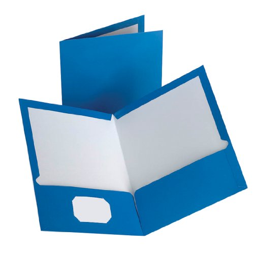 Oxford Laminated Twin-Pocket Folders, Blue, Pack Of 10 (51751)