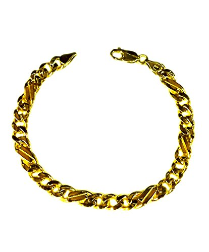 (10kt Solid Yellow Gold Handmade Curb Link Mens Bracelet 8