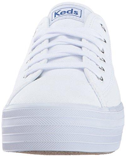 Keds Womens Tripla Calcio Di Tela Moda Sneaker Bianco