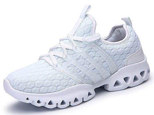 IIIIS-R Botas Zapatillas de deporte Zapatos deportivos de los planos Deslizamiento-en los zapatos suaves de la plataforma del verano respirable de las solamente blanco