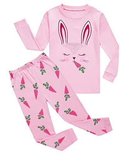 Little Girls Rabbit Easter Pajamas 100% Cotton Pink