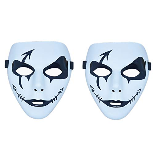 Halloween Mask Outline (Rehoty Full Face Hip Hop Dance Party Masquerade Masks, 2 Pack Halloween Cosplay Costume Masks White)