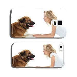 woman with dog cell phone cover case Samsung S6