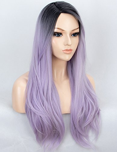 K'ryssma Ombre Purple Synthetic Wigs for Women Long Straight Machine Made Ombre Wig with Black Roots 22 inch ()
